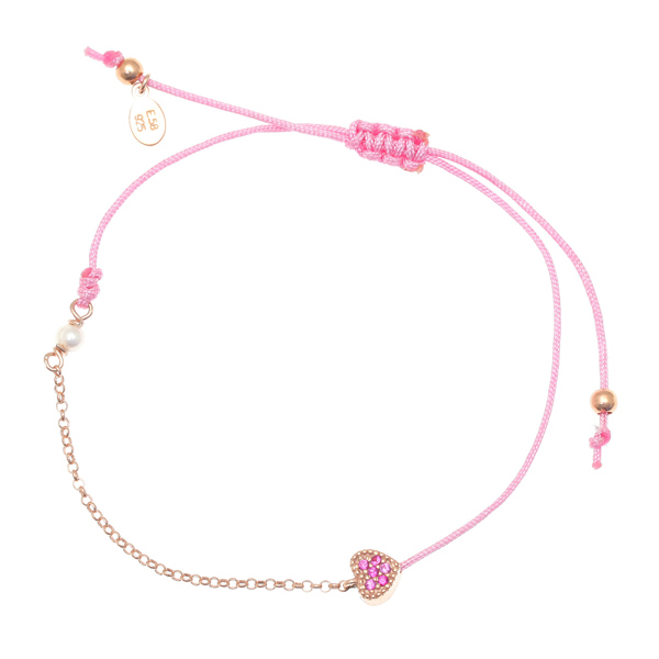 Gregio Mitos Pink Adjustable Cord Bracelet with Heart