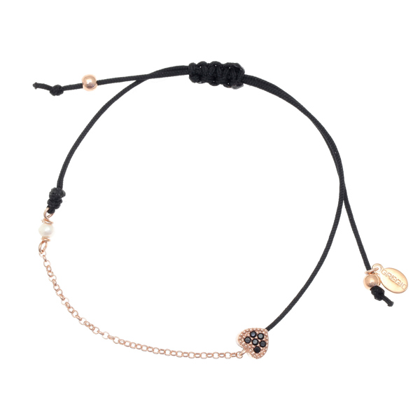 Gregio Mitos Black Adjustable Cord Bracelet with Black Heart