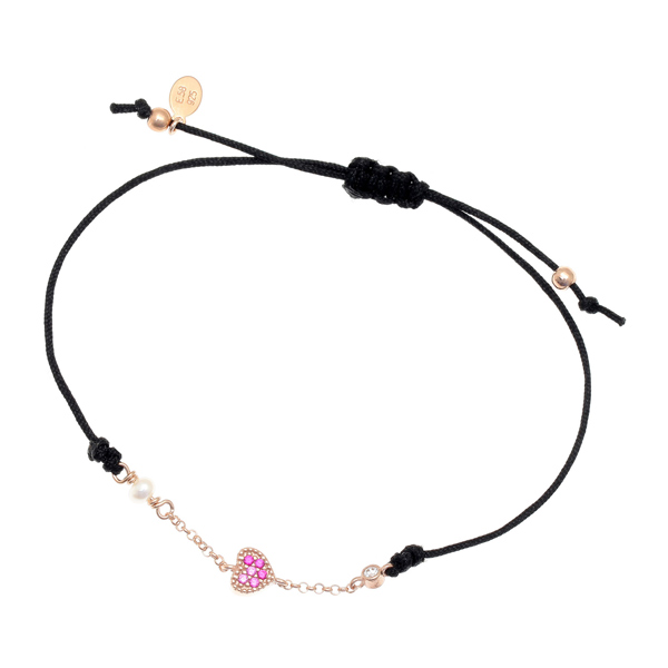 Gregio Mitos Black Adjustable Cord Bracelet with Pink Heart