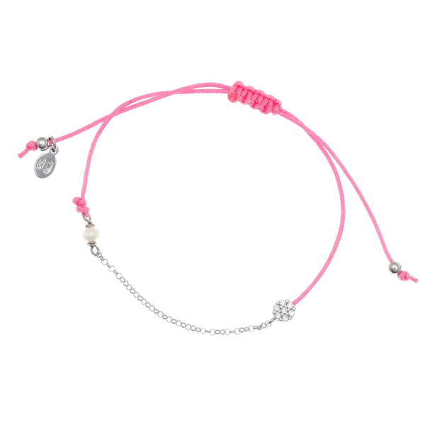 Gregio Mitos Pink Adjustable Cord Bracelet with Blossom