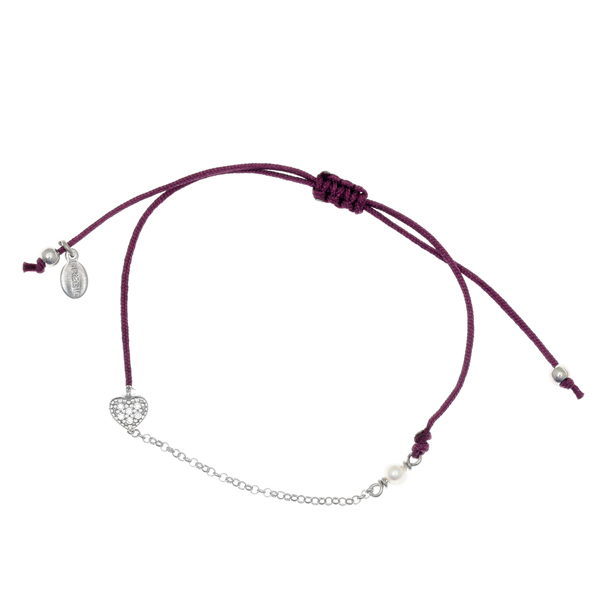 Gregio Mitos Purple Adjustable Cord Bracelet with Heart