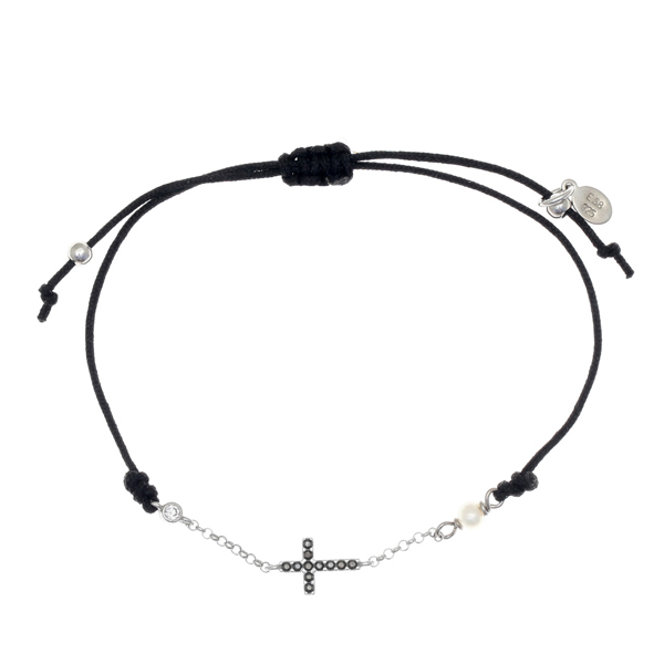 Gregio Mitos Black Adjustable Cord Bracelet with Black Cross