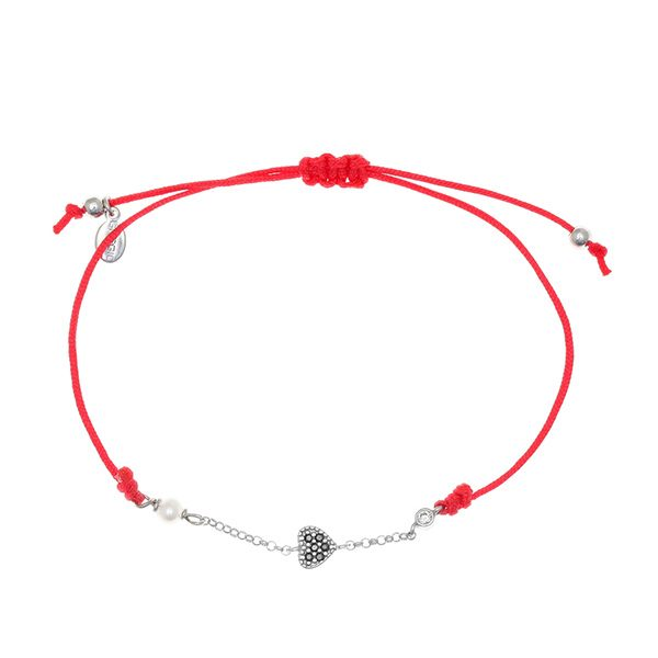 Gregio Mitos Red Cord Adjustable Bracelet with Black Heart