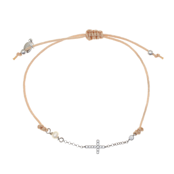 Gregio Mitos Beige Adjustable Cord Bracelet with White Cross