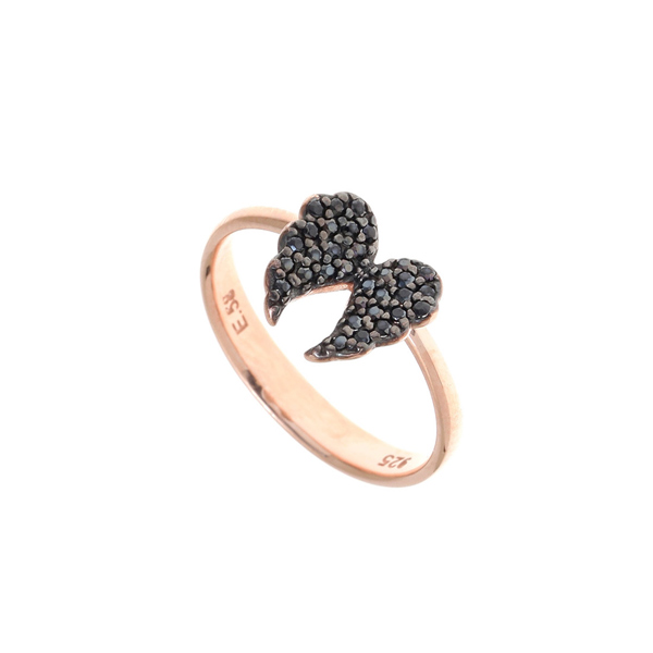 Gregio Iris Black Angel Wings Ring