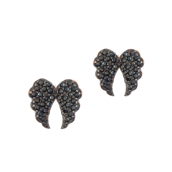Gregio Iris Black Angel Wings Earrings