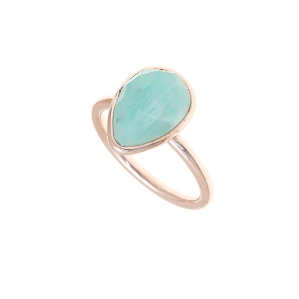 Gregio Petra Ring with Teardrop Amazonite Precious Stone