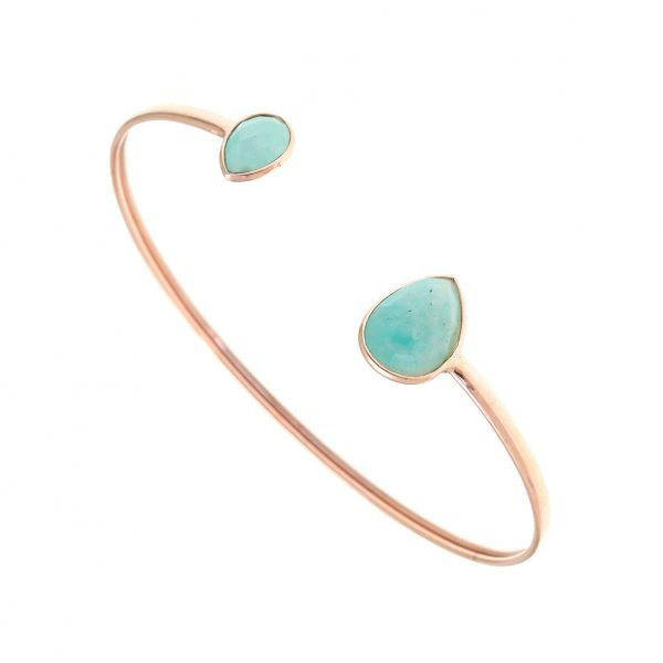 Gregio Petra Bangle with Teardrop Amazonite Precious Stones