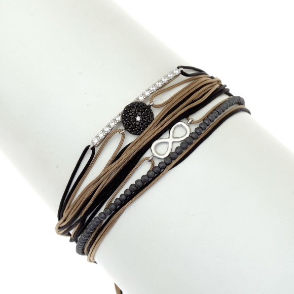Gregio Aegis Black/Brown Multi-cord Adjustable Bracelet with Spinel and Zirconia Eye and Infinity Symbols