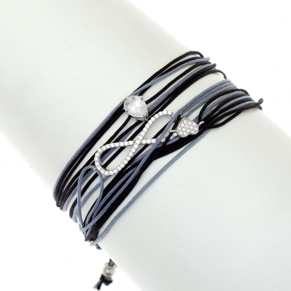 Gregio Aegis Black/Grey Multi-cord Adjustable Bracelet with Zirconia Heart and Infinity Symbols