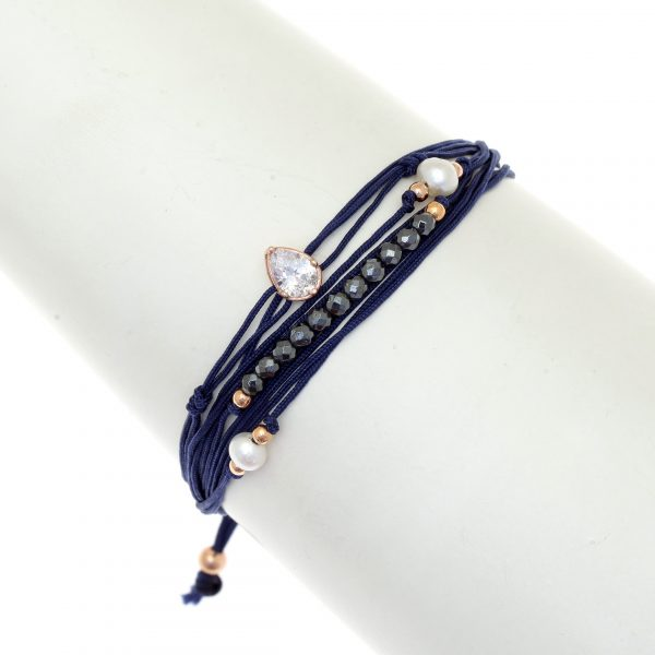 Gregio Aegis Navy Multi-cord Adjustable Bracelet with Hematite and Zirconia
