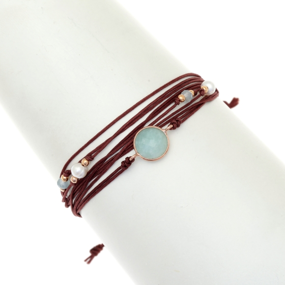 Gregio Aegis Brown Multi-cord Adjustable Bracelet with Amazonite