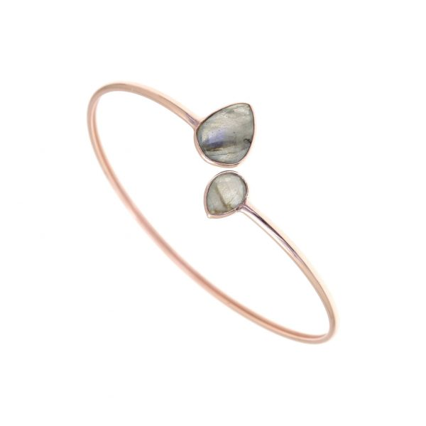 Gregio Petra Bangle with Teardrop Labradorite Precious Stones