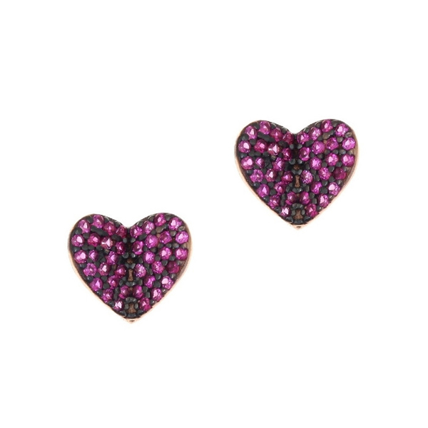 Gregio Iris Pink Heart Earrings