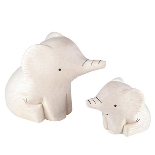 T-lab Elephant Family Handcarved Wooden Ornaments