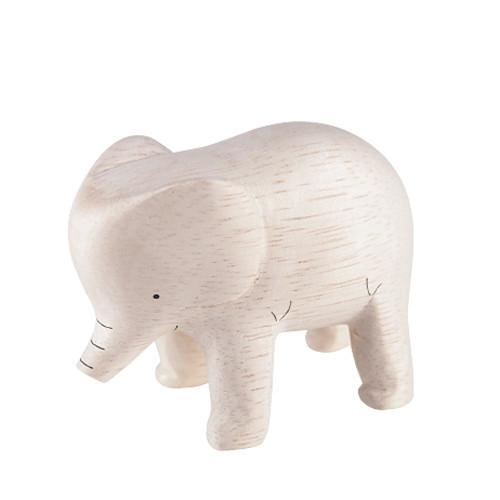 T-lab Elephant Handcarved Wooden Ornament