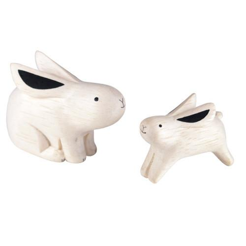 T-lab Rabbit Family Handcarved Wooden Ornament