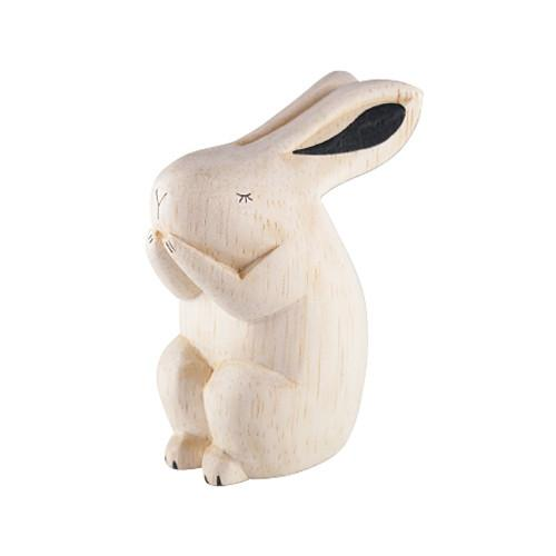 T-lab Rabbit Handcarved Wooden Ornament