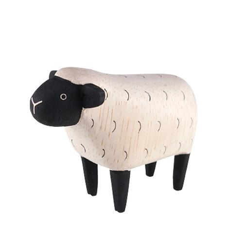 T-lab Sheep Handcarved Wooden Ornament