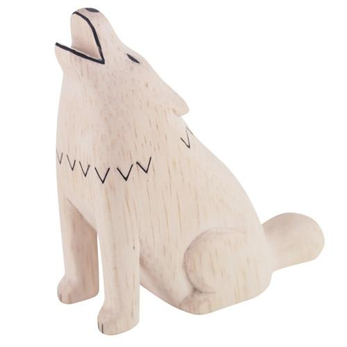 T-lab Wolf Handcarved Wooden Ornament