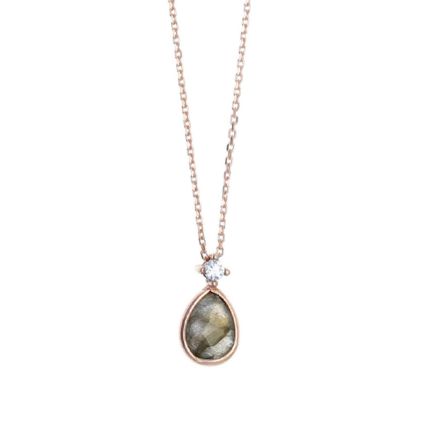 Gregio Petra Necklace with Labradorite & Zirconia Pendant