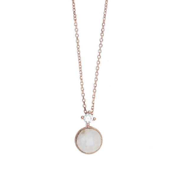 Gregio Petra Necklace with Moonstone & Zirconia Pendant