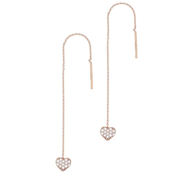 Gregio Sirens Hanging Hearts Earrings with Zirconia