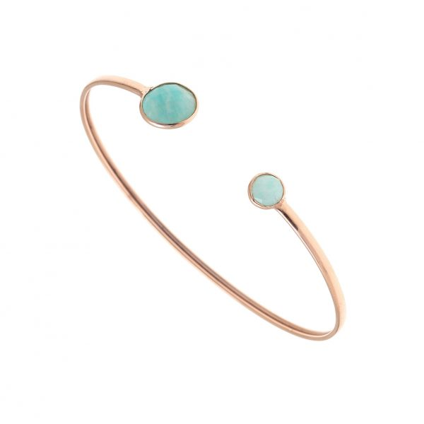 Gregio Petra Bangle with Round Amazonite