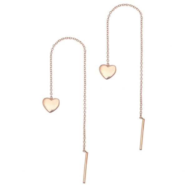 Gregio Sirens Rose Gold Hanging Heart Earrings
