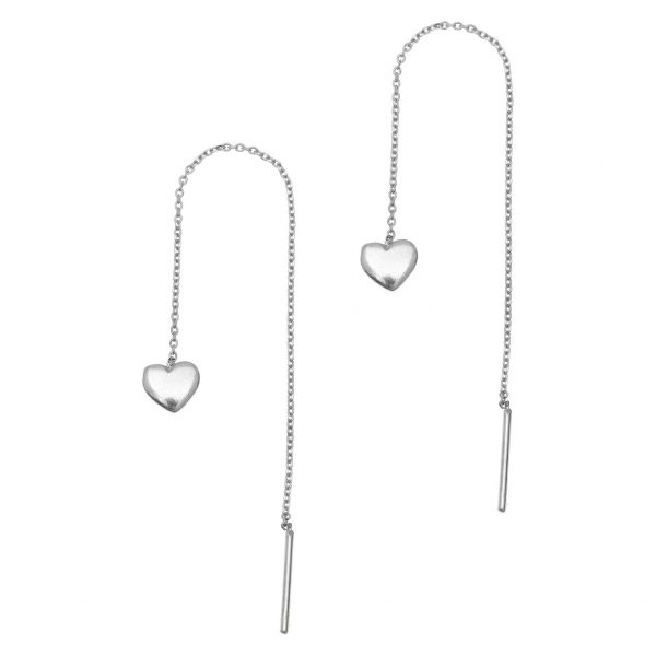 Gregio Sirens Silver Hanging Heart Earrings