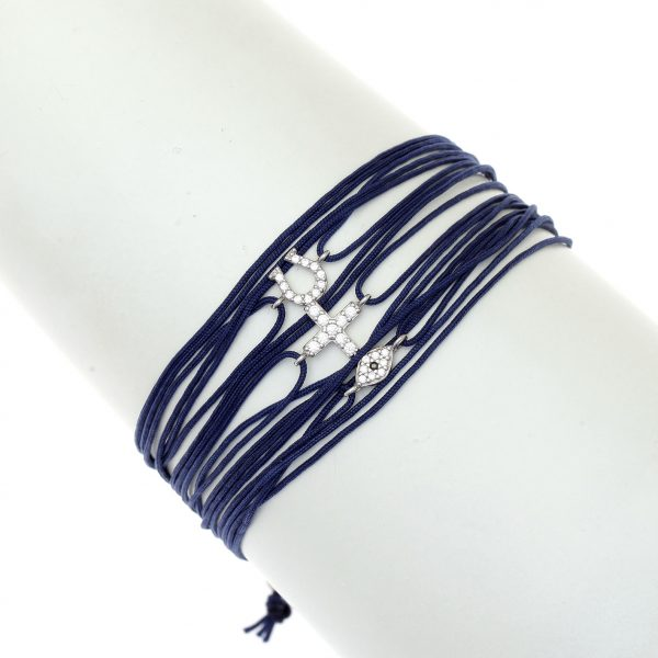 Navy multi-cord bracelet with rhodium plated 925 silver and white zirconia in multiple Greek symbols including omega, cross and the all-seeing eye, by Gregio