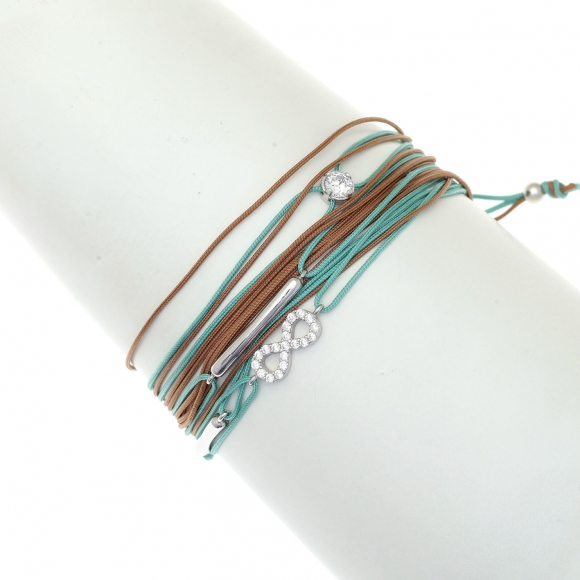 Tan/Turquoise multi-cord bracelet with rhodium plated 925 silver and zirconia with infinity symbol, by Gregio