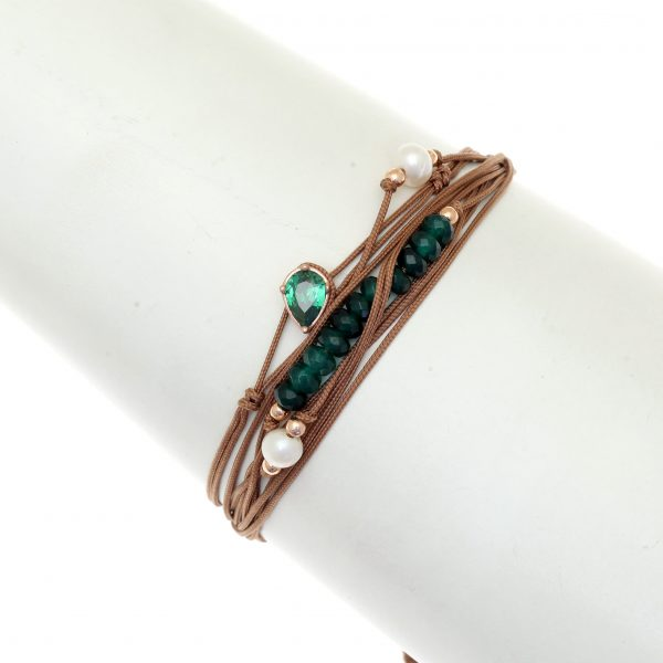 Light brown multi-cord bracelet with rose gold plated 925 silver, pearls and green sapphires, by Gregio