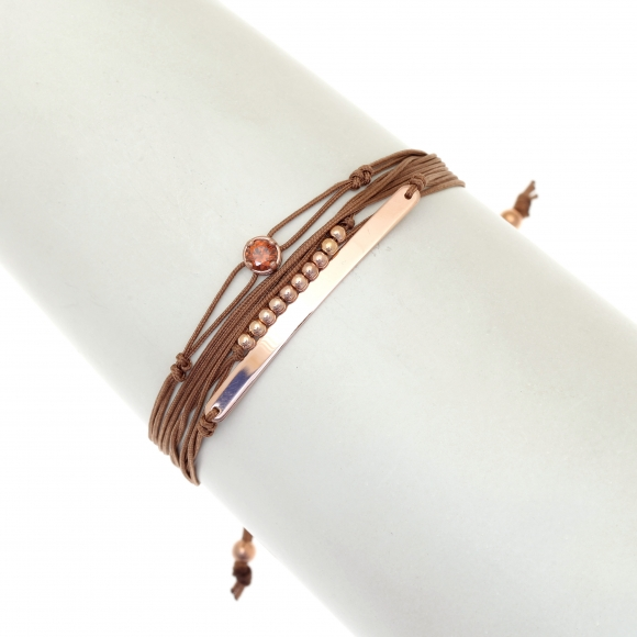 Light brown multi-cord bracelet with rose gold plated 925 silver and crystal, by Gregio