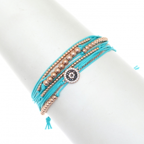 Gregio Turquoise multi-cord adjustable bracelet with evil eye and rose gold beads