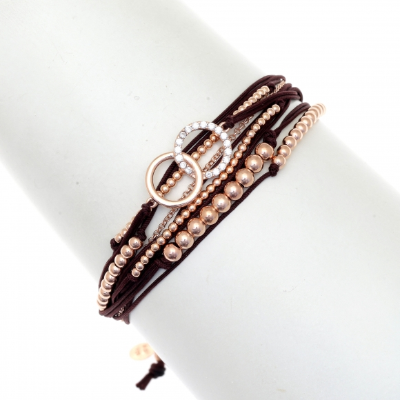 Gregio brown multi-cord adjustable bracelet with Zirconia and rose gold beads with infinity rings