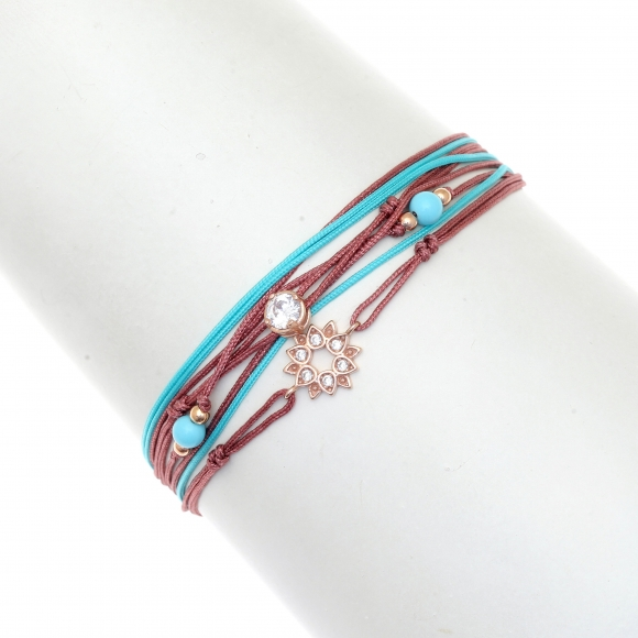 Gregio Grape/Turquoise multi-cord adjustable bracelet with Zirconia and floral motif