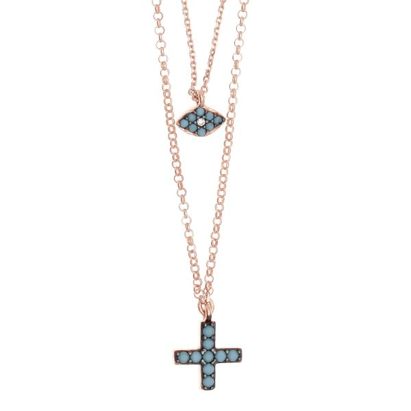 Gregio Sirens Turquoise Evil Eye and Cross Necklace