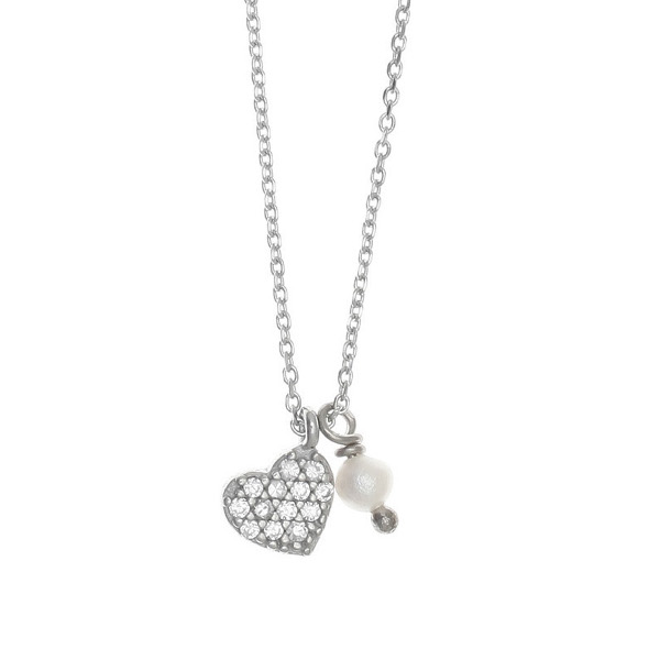 Gregio Sirens Zirconia Heart Silver Necklace