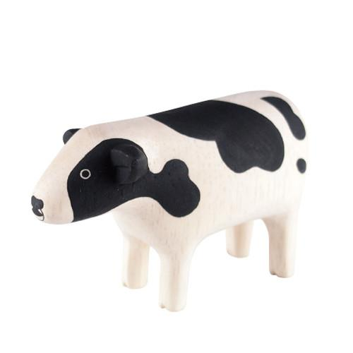 T-lab Cow Handcarved Wooden Ornament