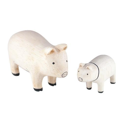 T-lab Pig Family Handcarved Wooden Ornaments