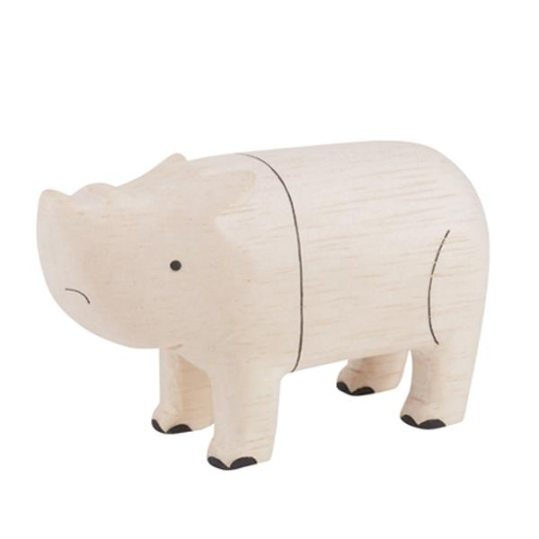 T-lab Rhinoceros Handcarved Wooden Ornament