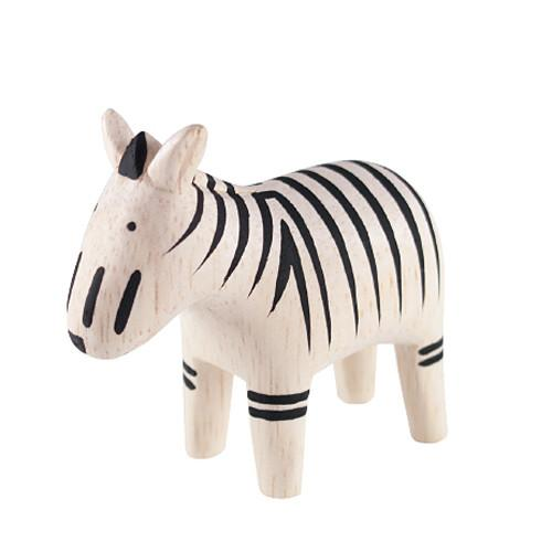 T-lab Zebra Handcarved Wooden Ornament