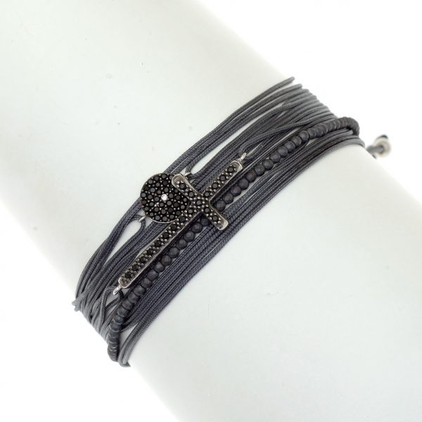 Gregio Aegis Bracelet with Black Spinel and Cross