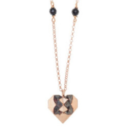 Gregio Origami Rose Gold Heart Necklace