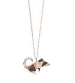 Gregio Origami Rose Gold Mouse Necklace