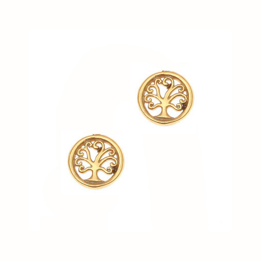 Gregio Yellow Gold Tree of Life Earrings