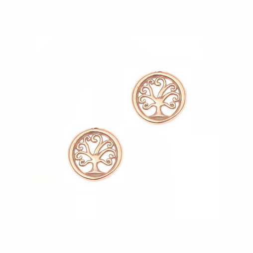 Gregio Rose Gold Tree of Life Earrings