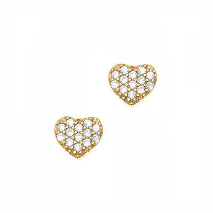Gregio Yellow Gold Zirconia Heart Earrings