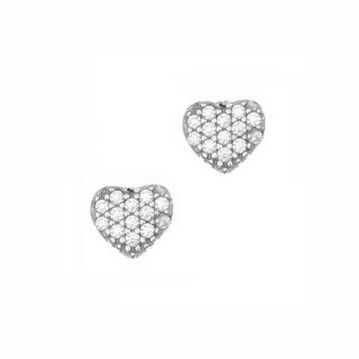 Gregio Silver Zirconia Heart Earrings